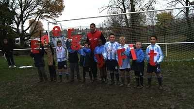 Rio Ferdinand and young players at Eltham Town FC