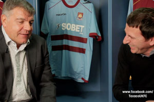 West Ham manager Sam Allardyce and Fenners during a Texaco FC shoot, Dec 2011