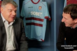 West Ham manager Sam Allardyce and Fenners during a Texaco FC shoot, Dec 2011